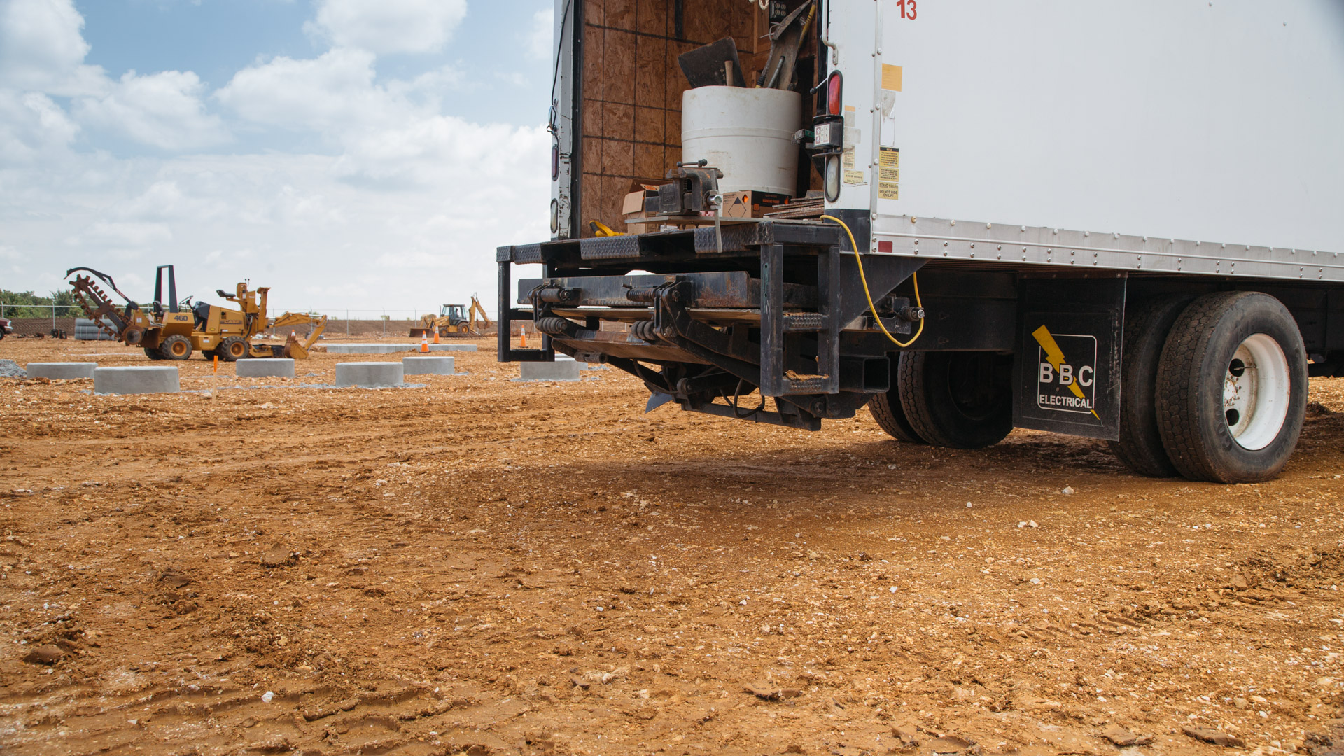 Image of rear of BBC Electric truck at the Empire Substation construction site in Joplin, MO.
