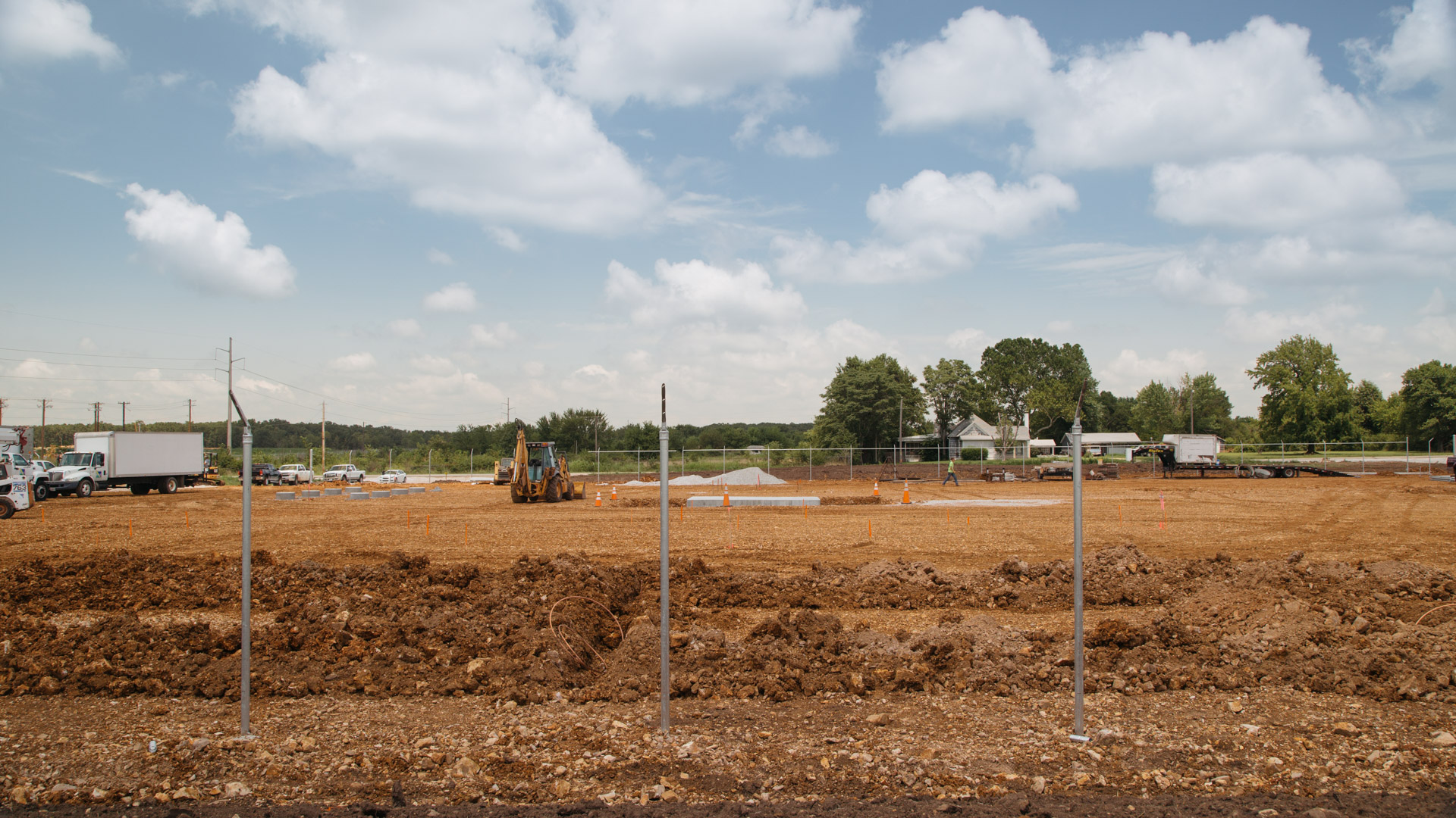 Image of fence during the beginning stages of construction on Empire Substation in Joplin, MO.