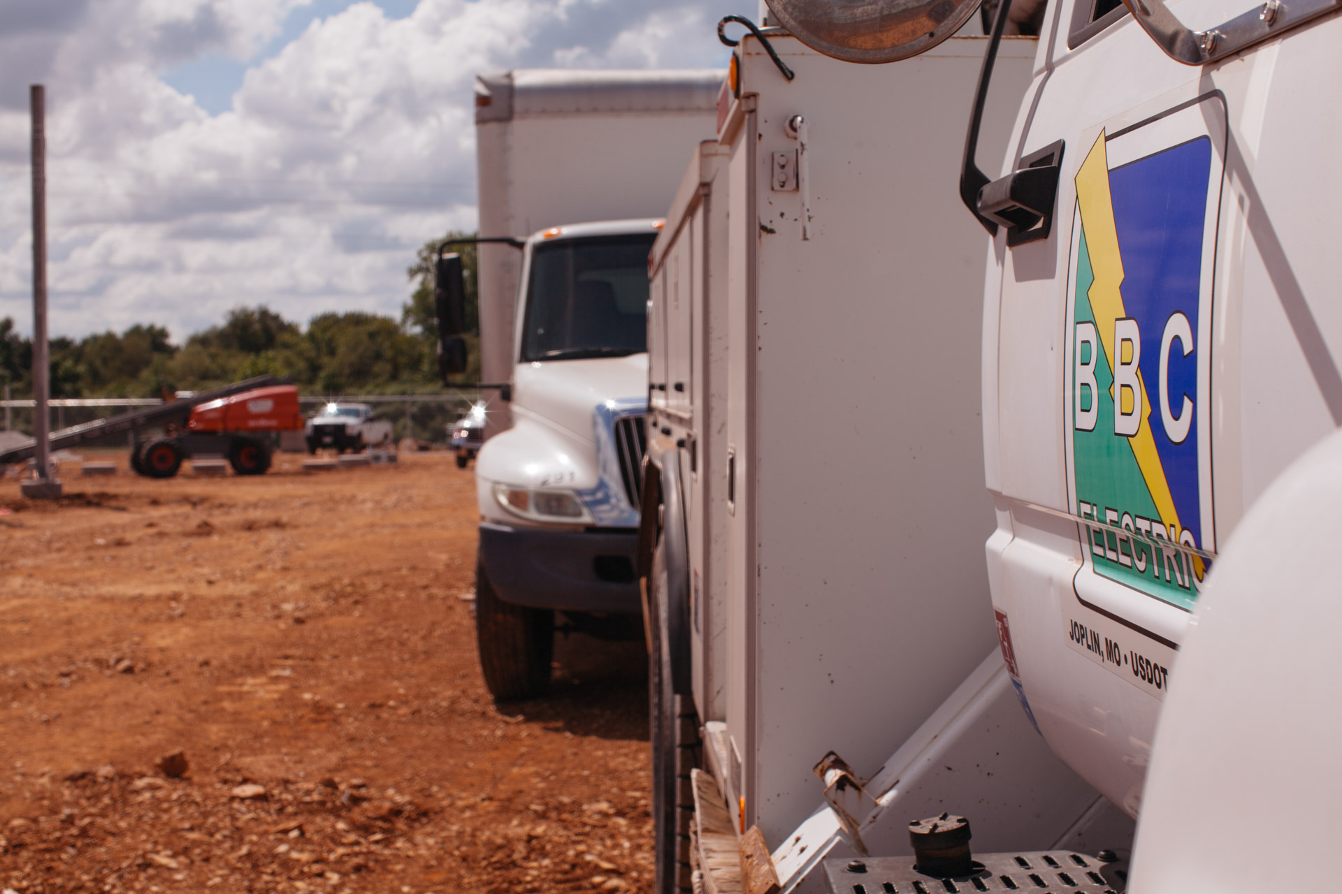 Image of side of BBC Electric truck during Empire Substation construction in Joplin, MO.