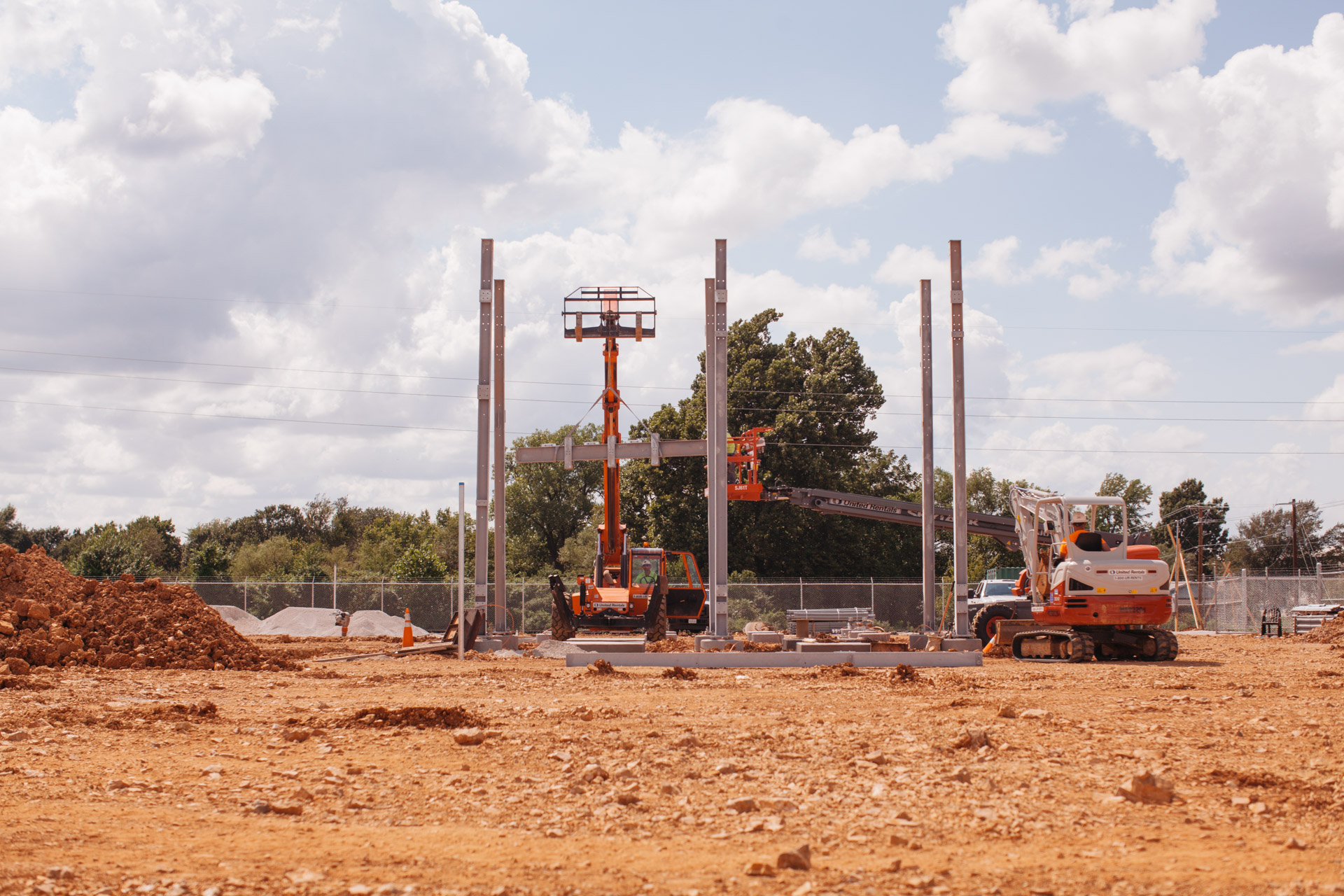 Image of beam being lifted during construction of Empire Substation in Joplin, MO.