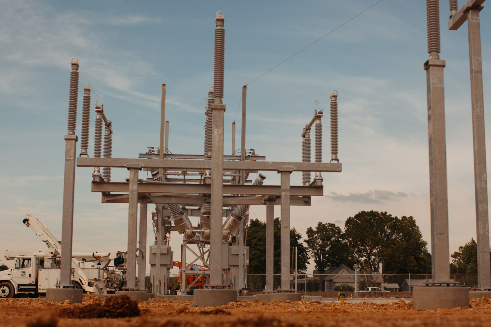 Image of Empire Substation in Joplin, MO during construction with power line added.